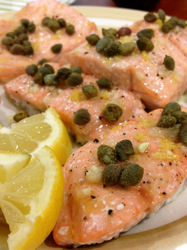 Lemon Garlic Salmon With Capers