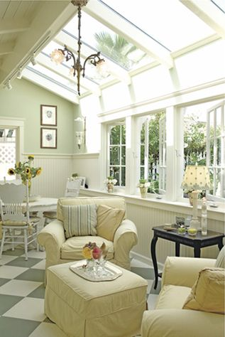 """With its soothing color palette and ample windows, this sunroom is a prime example of a relaxing retreat. Homeowners Sue and Rick Sparks converted their old one-car garage into a sunroom that complemented the style of their breezy beach cottage and made the best of their garden view. They spend many hours there reading, relaxing … Continue reading """"Let the Sun Shine In: Sunroom Makeover"""""""