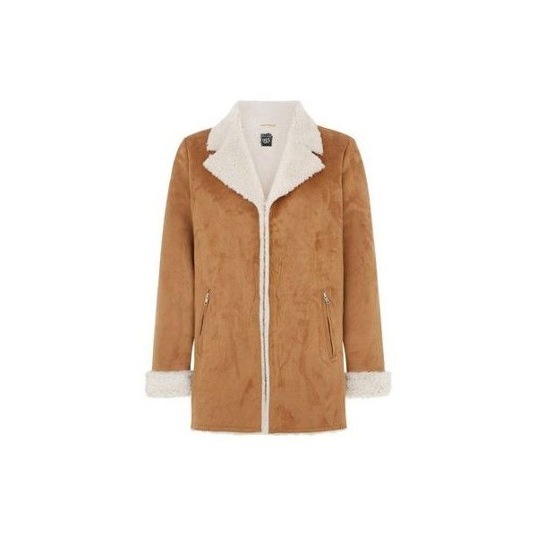 New Look Teens Tan Faux Shearling Lined Longline Jacket (435 ARS) ❤ liked on Polyvore featuring outerwear, jackets, camel, tan jacket, camel jacket, long line jacket, collar jacket and beige jacket