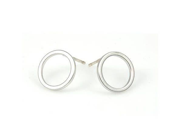 4pcs  Round Earring in Matte Rhodium / rhodium plated / 92.5