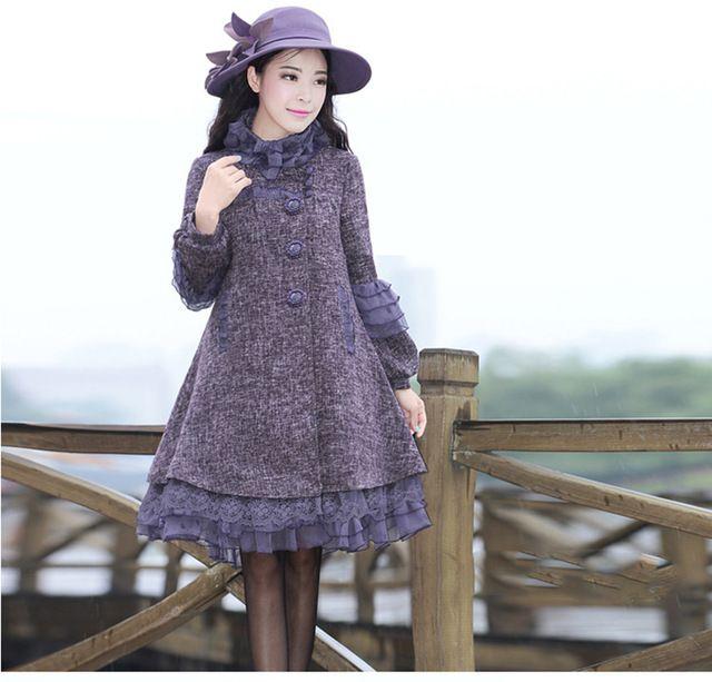2017 Otoño Y El Invierno de Las Nuevas Señoras de Encaje Costuras Sueltas Temperamento Abrigo de Lana de Las Mujeres Más Tamaño Abrigos de Lana de Color Púrpura