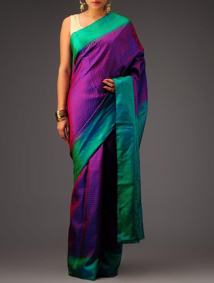 Buy Violet Green Golden Kanchipuram Silk Saree Sarees Woven Online at Jaypore.com