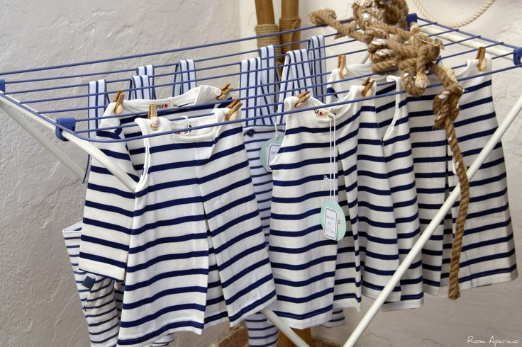 ...blue stripes...  aw. Little French baby clothes