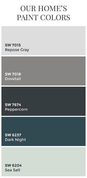 Interior Design IdeasTransitional Home Color Scheme: Sherwin Williams SW7015 Repose Gray. Sherwin Williams SW7018 Dovetail. Sherwin Williams SW7674 Peppercorn. Sherwin Williams SW6237 Dark Night. Sherwin Williams SW6204 Sea Salt. by sonia