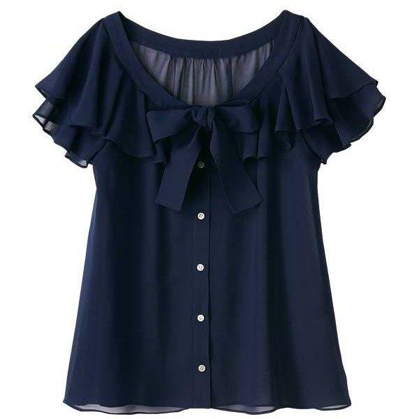 ブラウス(ボウタイ袖フリルブラウス) | | ファッション通販 マルイウェブチャネル found on Polyvore featuring women's fashion, tops, blouses, shirts, t-shirts, blue shirt, shirt blouse, blue top and blue blouse
