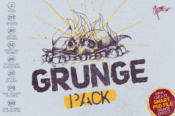 Check out Grunge Pack + Bonus by Mockup Zone on Creative Market