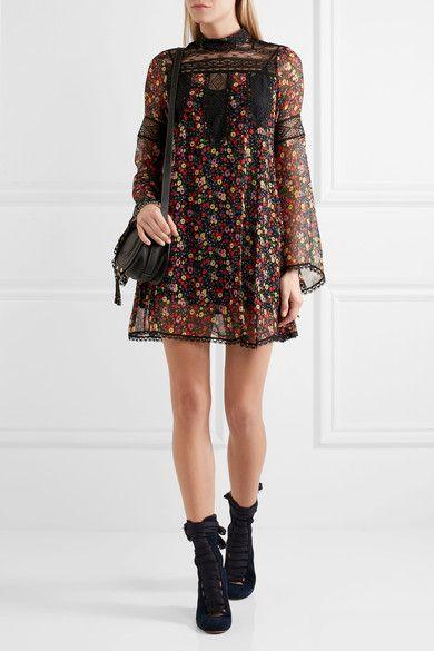 Anna Sui - Lace-paneled Printed Silk-georgette Mini Dress - Black - US12