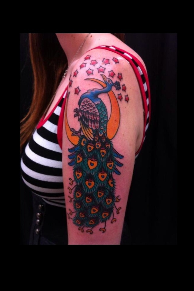 Top 77 ideas about peacock phoenix on pinterest for Traditional peacock tattoo