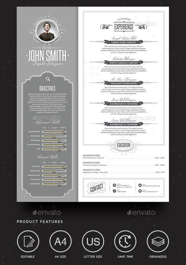 Job Resume Template 02 Resume templates (Built in US Letter Sized & A4 format) Each layer has its own name for your convenience Grids and Guides High resolution 300 DPI CMYK color mode Help File Please Note: These are a Photoshop® Files. Adobe Photoshop® CS3 or + is required to open these files correctly and allow for full editing. Photo(s) and mockup(s) not included in package. Its for illustration purpose only. Links to download these fonts are available in the Help File.