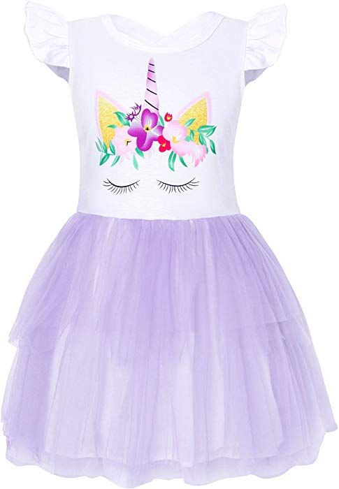 Amazon.com  Cotrio Big Girls Unicorn Tulle Dress for Halloween Costume  Clothes Casual Dresses Size 10 Age 9-10Years (Purple)  Clothing 38717173a04e
