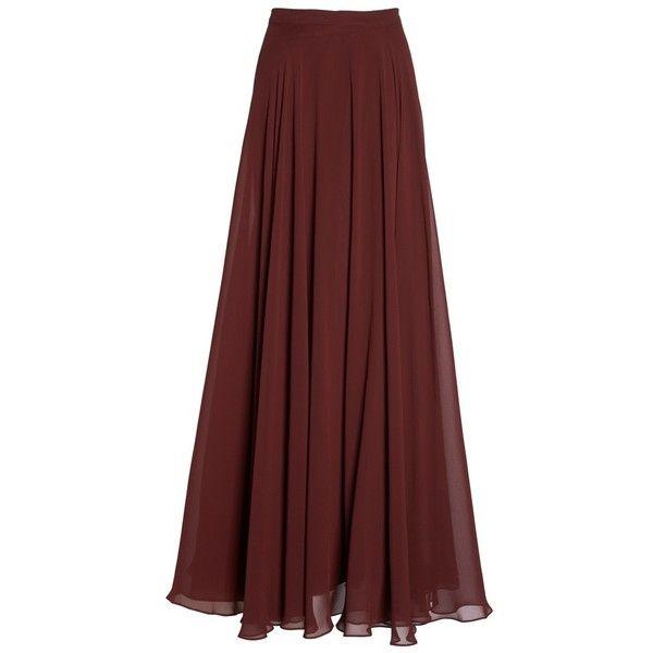 Women's Jenny Yoo 'Hampton' Long A-Line Chiffon Skirt ($225) ❤ liked on Polyvore featuring skirts, long maxi skirts, long skirts, long ankle length skirts, chiffon maxi skirt and long chiffon maxi skirt