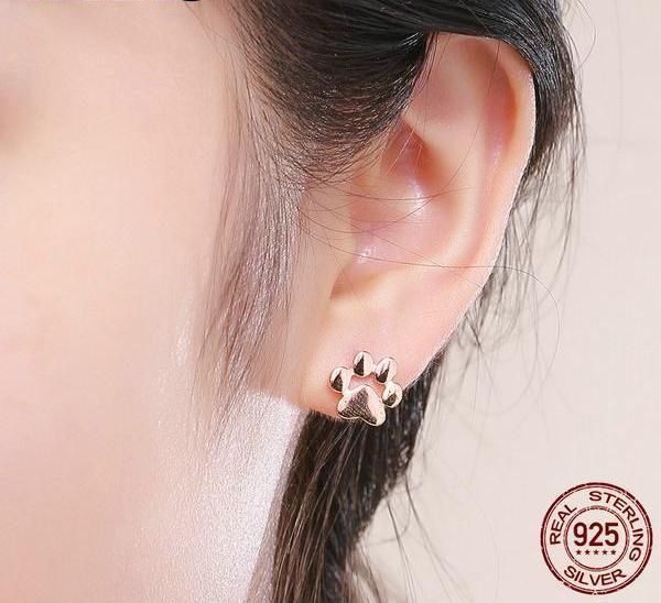 925 Sterling Silver Rose Gold Dachshund Sausage Dog Paw Print Stud Earrings