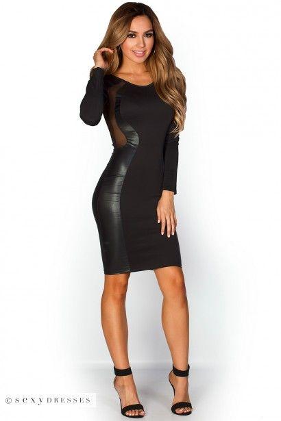 """Sadira"" Solid Black Sheer Mesh Cut Out Optical Illusion Dress"
