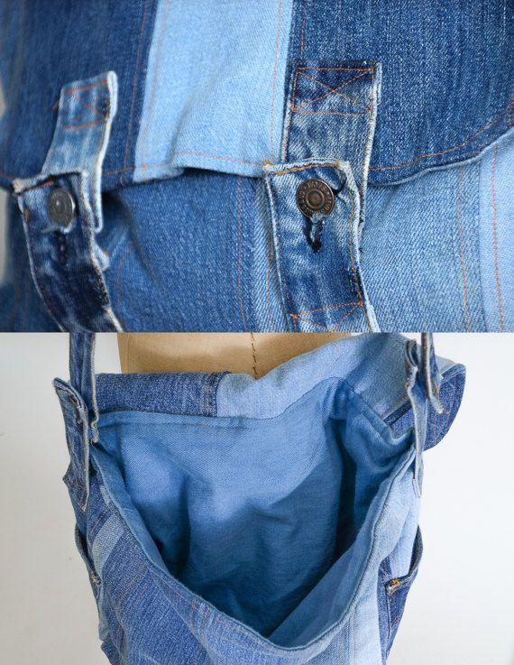 70s Levis Patchwork Messenger Bag Large Indigo Denim Handmade
