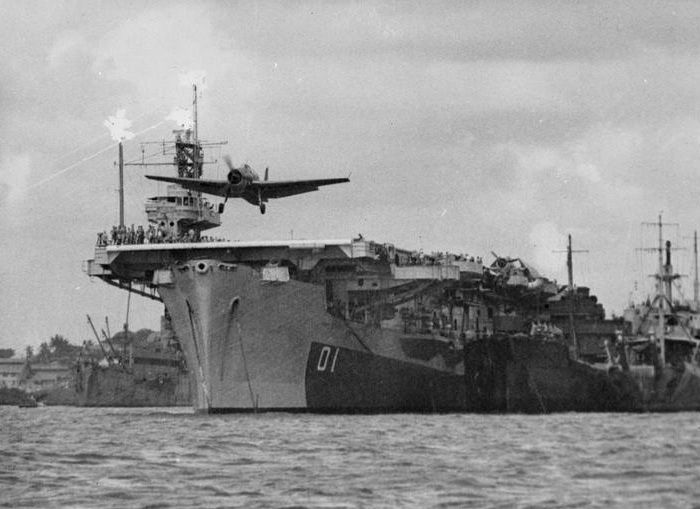 HMS Ameer (D01) Ameer-class British Royal Navy escort carrier...plane taking-off! (google.image) 8.17 #2/2