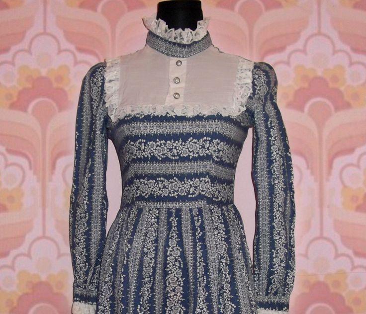 Vintage 70s 60s Dollyrockers Blue Floral Victorian Prairie Bib Boho Dress s UK 8 | eBay