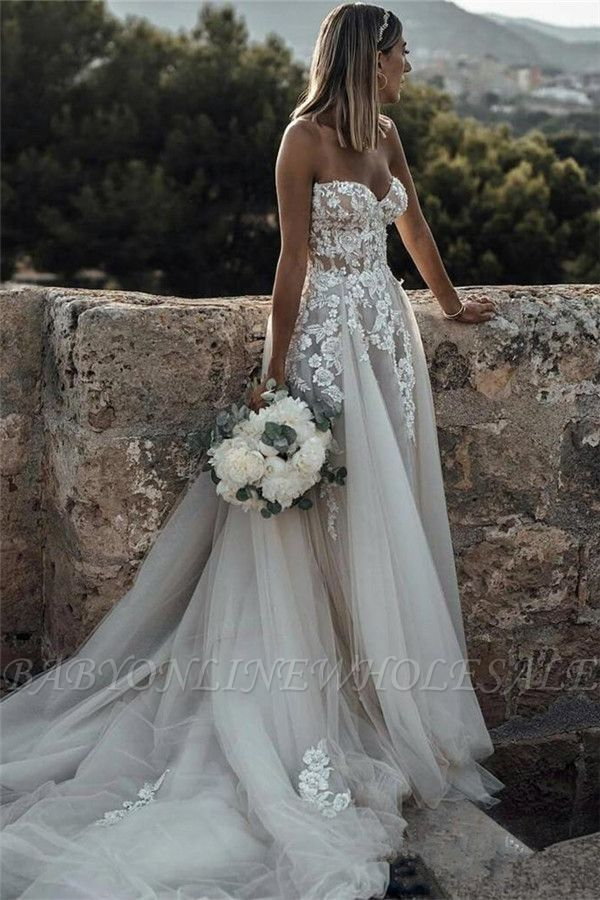 Glamourous Sweetheart Flower Applique Wedding Dresses Cheap Sleeveless Backless Floral Br Wedding Dresses Beaded Sweetheart Wedding Dress Lace Rustic Wedding