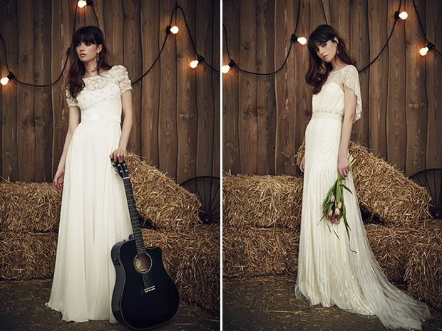The delicate Taylor dress from Jenny Packham's 2017 collection features a detailed top, while the Dolly is effortlessly elegant. #weddingdresses #bohobrides #countryweddings #bridalstyle