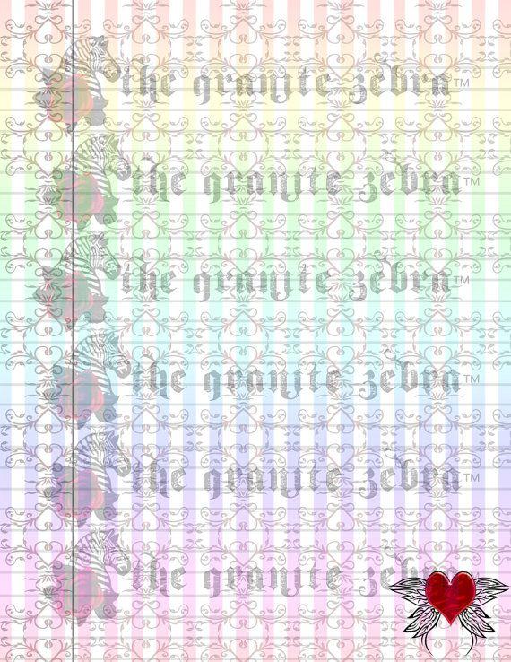 Butterfly Heart Goth Damask Lined Stationery by TheGraniteZebra - lined stationery paper