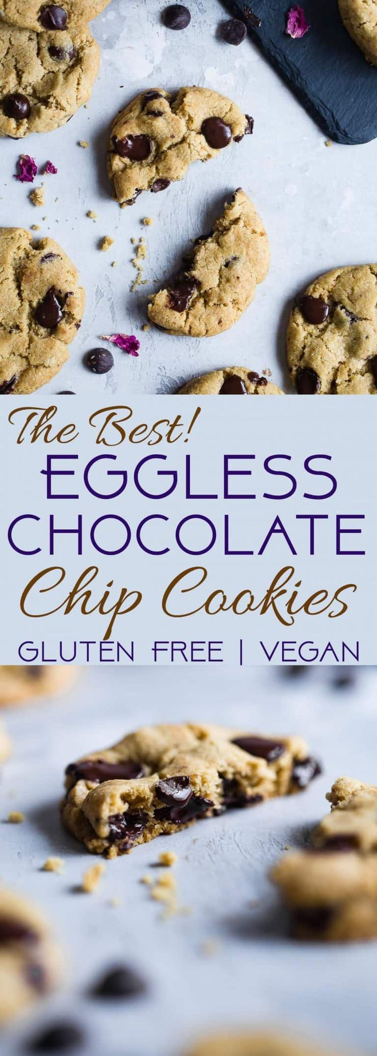 The BEST Eggless Chocolate Chip Cookies - SO chewy on the inside, crispy on the outside and secretly gluten free, with a dairy free and vegan option! The only chocolate chip cookie recipe you well ever need!   #Foodfaithfitness   #Glutenfree #Vegan #Healthy #Cookies #EggFree