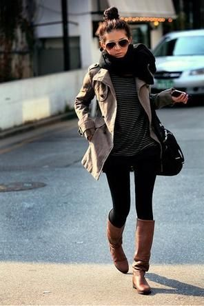 Black and White Stripes + Brown Boots