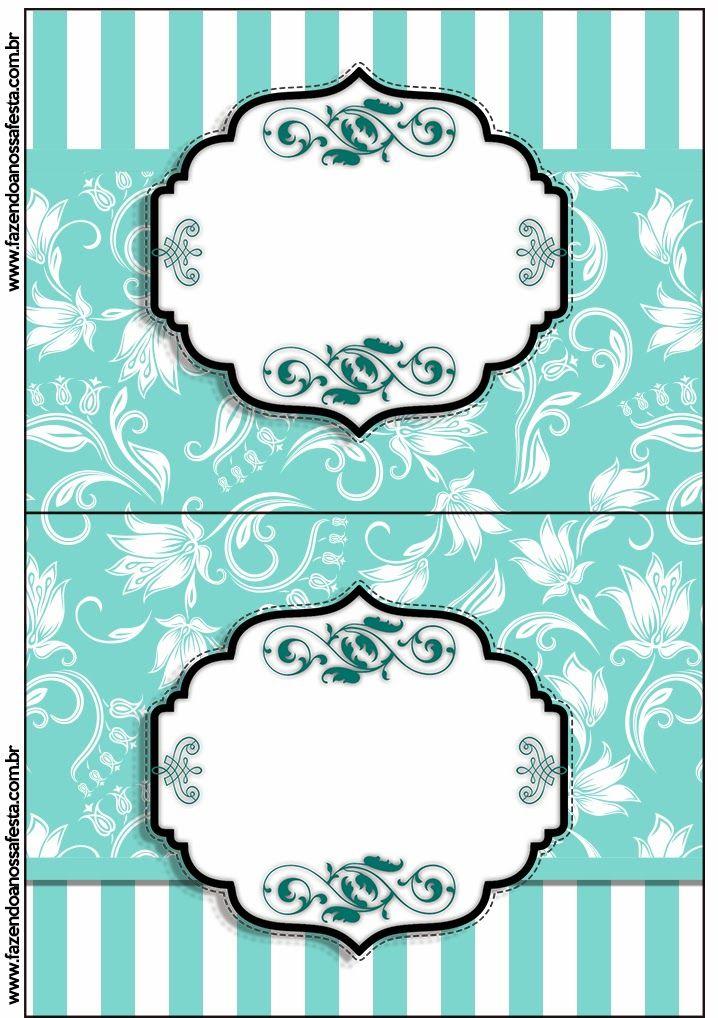 Fiesta Tiffany: Tarjetería, Fondos e Imprimilbes Gratis para Candy Bar.