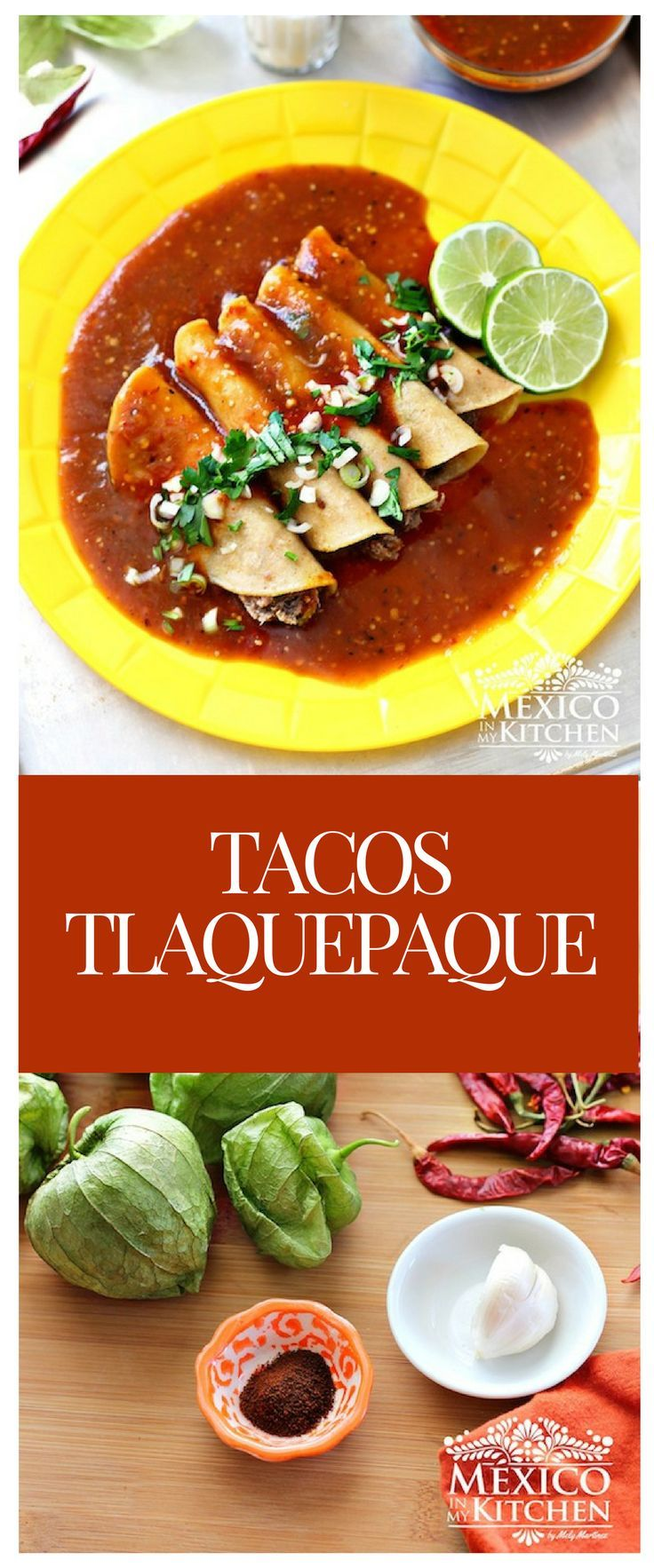 hese tacos are made usingyellow corn tortillas filled with stewed beef, made using the cow's head(barbacoa de cabeza), and then covered with a brownish salsa made of tomatillosand peppers.#recipe #mexican #food #kitchen #tacos