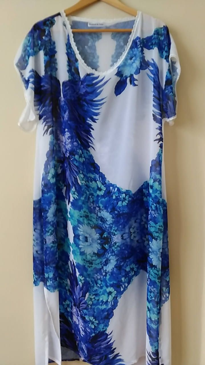 Plus Size Beach Dress Summer Dress Printed Chiffon Sun