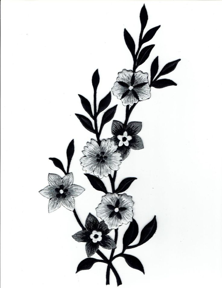 Large - Flowers - Black/White/Silver - Facing Left - Iron on Applique - Embroidered Patch - 692258AL