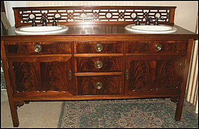 Photo Of Front View Antique Bathroom Vanity Double Sink