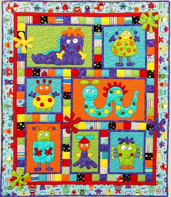MONSTER PATCH Quilt Pattern Adorable Applique and por JustForFun