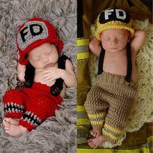 Mejores trajes de bebé ganchillo bombero bebé foto accesorio sombrero recién nacido cap y pantalones studio accesorios newborn apoyo de la foto(China (Mainland))