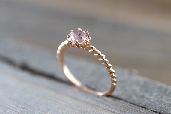 Promise ring 14k Rose Gold Round Morganite Peach Pinkish by ASweetPear on Etsy
