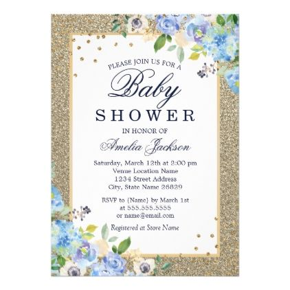 Blue Gold floral Sparkle Baby Shower Invite - floral style flower flowers stylish diy personalize