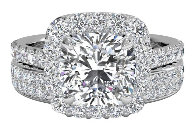 French-Set Halo Diamond Band Engagement Ring with matching band - in White Gold (0.70 CTW)