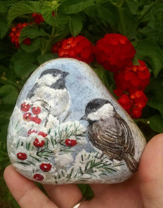 Chickadee's in Winter Handpainted on River Stone by PaintRiver