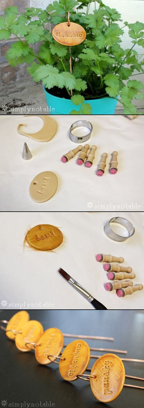 Clay herb garden markers