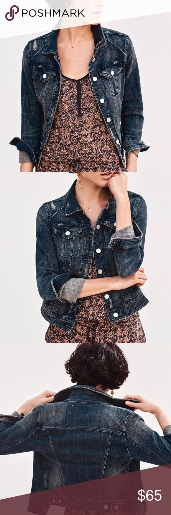 Anthropologie Pilcro Demin Jacket sz XL dark wash. Pilcro dark wash denim jacket with light distressing in sz XL. This jacket has that nice amount of stretch that Pilcro is known for. It is in excellent used condition. It's been super versatile and I love it. Bought the exact jacket in a smaller size and so I'm selling this one.   Smoke free, perfume free and pet free home. Anthropologie Jackets & Coats Jean Jackets