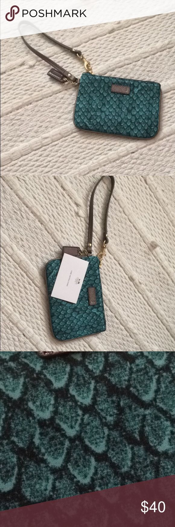 Coach wristlet Turquoise coach wristlet. Never used. In perfect condition. Coach Bags Clutches & Wristlets