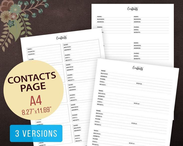Contact Page #Printable, Contact Sheet, Address Book, Contact List, #Planner Inserts, Instant Download, Phone Numbers, Contact Book, A4 #digital #instantdownload