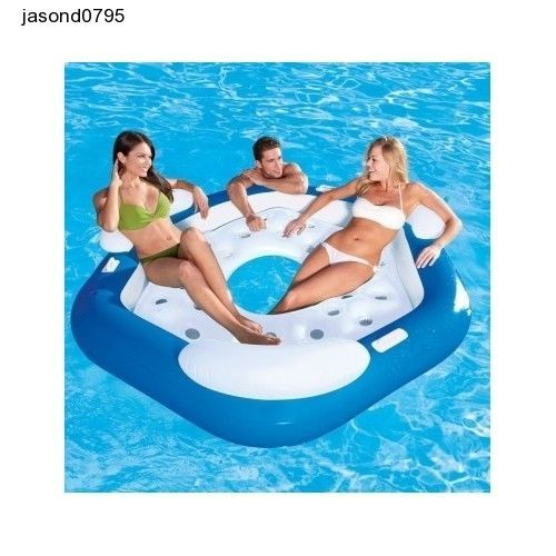 Inflatable pooi sofa 3 person land lounger pool chair lilo - Swimming pool floating lounge chairs ...