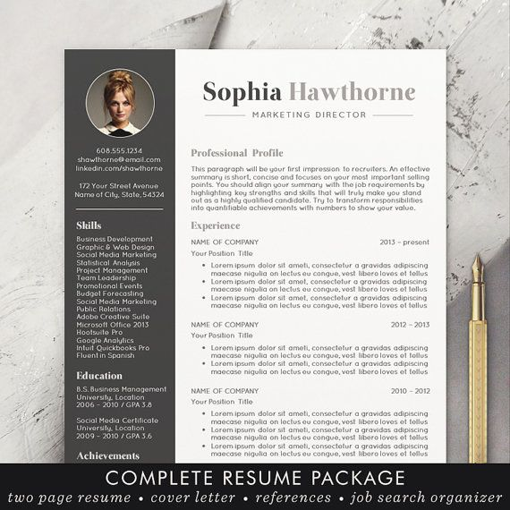 professional resume template with photo