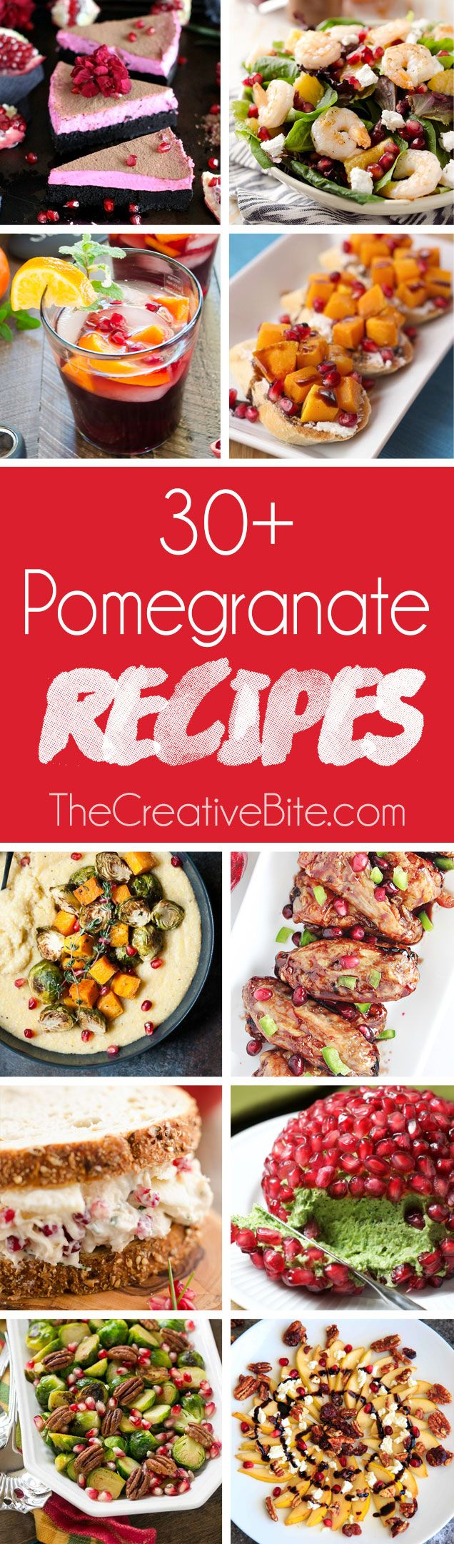 30+ Pomegranate Recipes are a great mix of appetizers, main dishes and desserts that all use this gem of a fruit for an elegant and delicious twist! #Pomegranate #Recipes