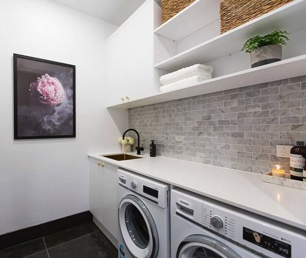 We've sold out of the stunning floral print 'Enchanted' used by @juliaandsasha in their laundry but you can pre-order it now at The Block Shop (just search 'Enchanted' for details). #9theblock #wallart #laundry http://ift.tt/2dPA7zI