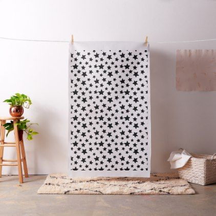 Black and White Stars Doodles Pattern Fabric - pattern sample design template diy cyo customize