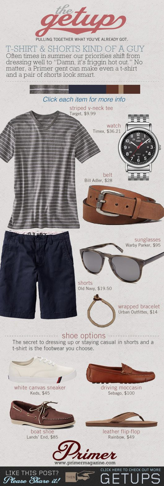 The Getup: T-shirt & Shorts Kind of a Guy   Primer but will never in my life wear a boat shoe. The are horrible.