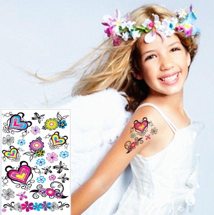 Красочные в форме сердца любовь ребенок временные флэш-тату боди-арт 17 * 10 см водонепроницаемый тату безболезненно хна selfie наклейки татуировки
