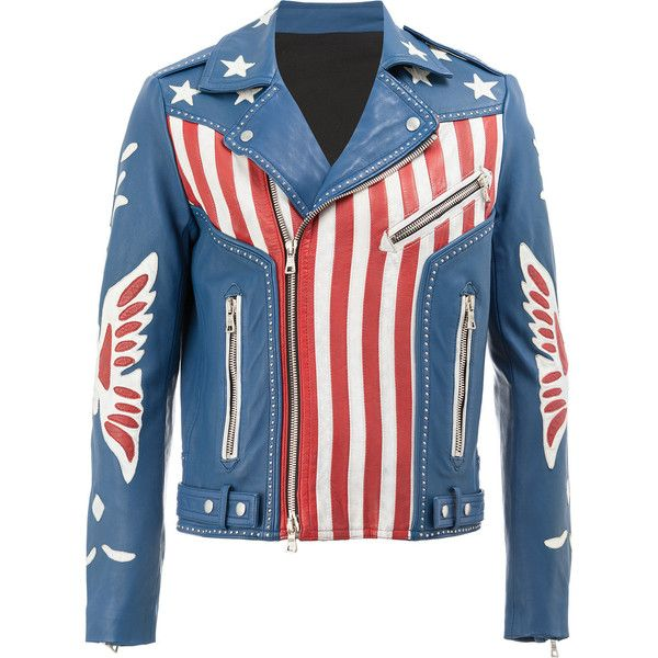 Balmain American flag print leather jacket ($5,036) ❤ liked on Polyvore featuring men's fashion, men's clothing, men's outerwear, men's jackets, blue, mens summer jackets, mens leather jackets, mens zip jacket, balmain mens jacket and mens blue jacket
