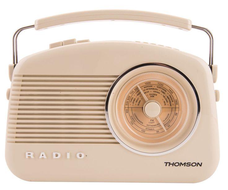 NEW Thomson DAB+/AM/FM Retro Digital Radio: LED Display, 10 Presets, Cream