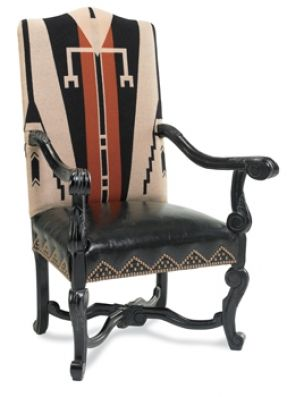 """Spirit Arm Chair  Item # 10261  The story of the American Indian lives on in the bold, hand-woven rug fabric. Distressed black leather seat and outside back with brass nail heads. Ornate, hand-carved beechwood frame with antiqued finish. 25"""" w x 48"""" h x 2"""